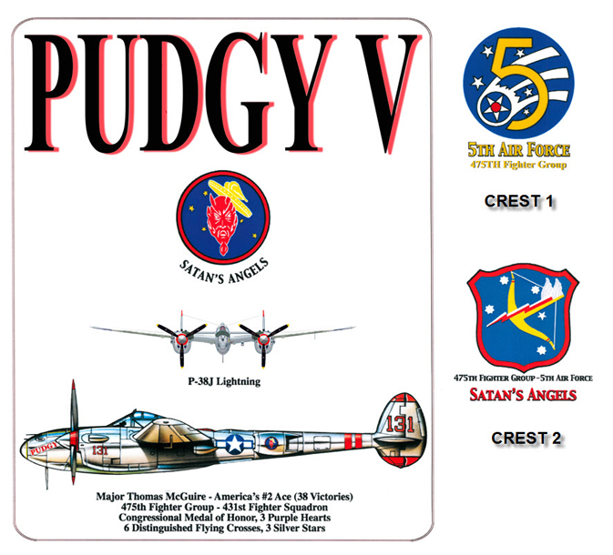 P-38 Lightning - Pudgy V - 475th Fighter Group